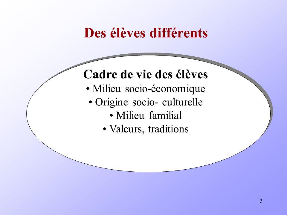3 Des élèves différents Cadre de vie des élèves Milieu socio-économique Origine socio- culturelle Milieu familial Valeurs, traditions