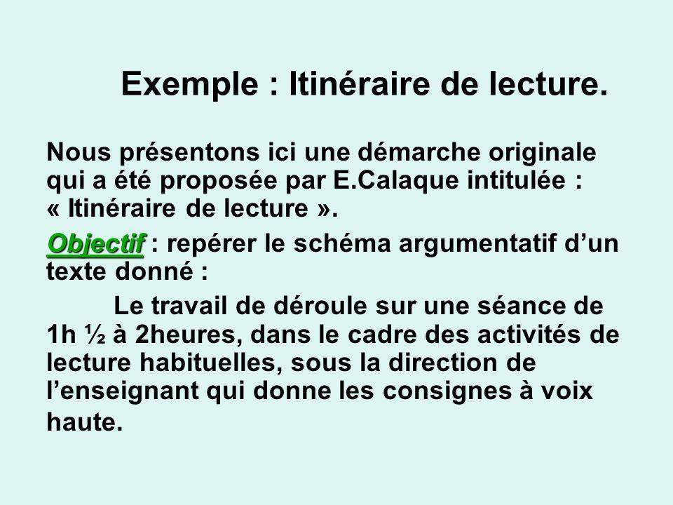 Exemple : Itinéraire de lecture. Nous présentons ici une démarche originale qui a été proposée par E.Calaque intitulée : « Itinéraire de lecture ». Ob