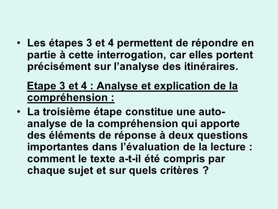 Les étapes 3 et 4 permettent de répondre en partie à cette interrogation, car elles portent précisément sur lanalyse des itinéraires. Etape 3 et 4 : A