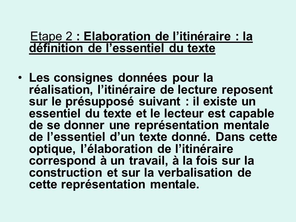 Etape 2 : Elaboration de litinéraire : la définition de lessentiel du texte Les consignes données pour la réalisation, litinéraire de lecture reposent