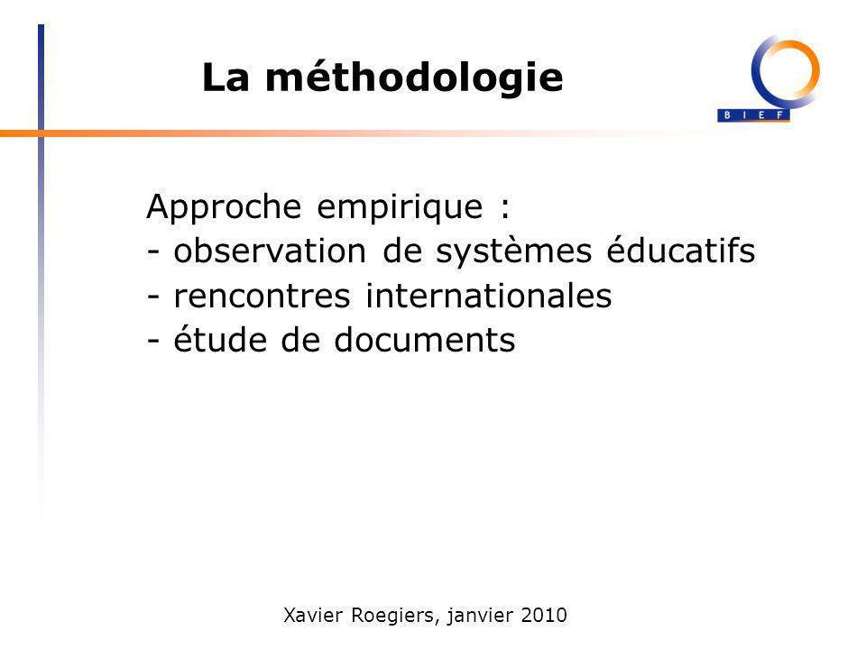 Xavier Roegiers, janvier 2010 La méthodologie Approche empirique : - observation de systèmes éducatifs - rencontres internationales - étude de documen