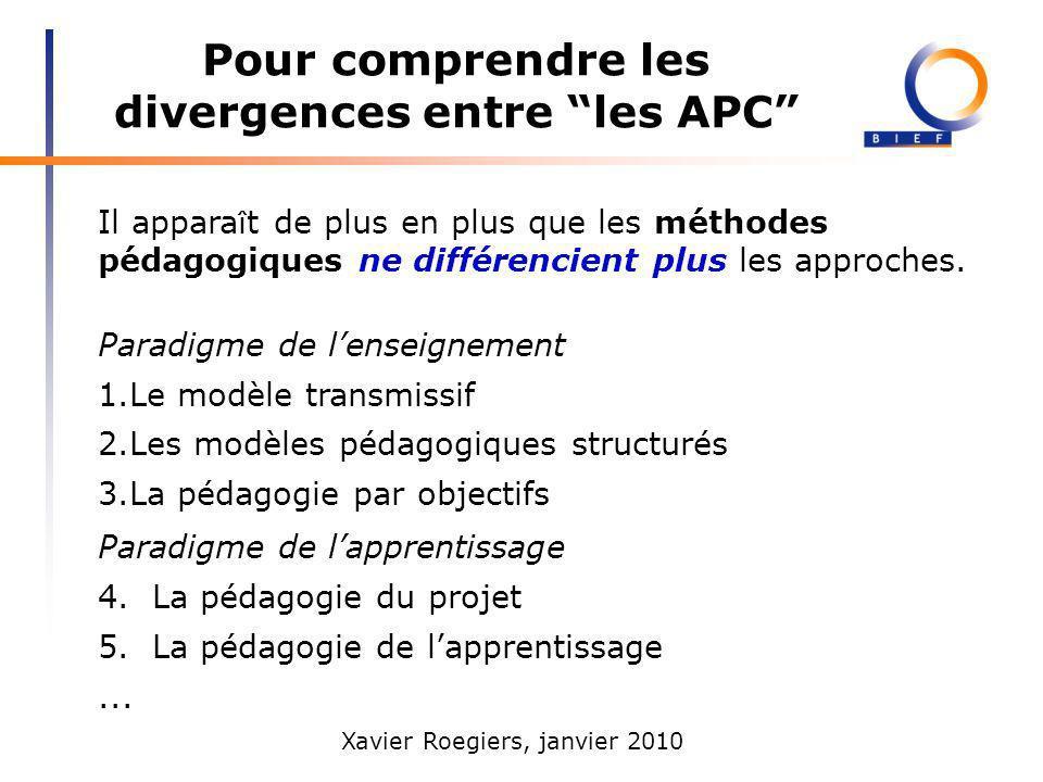 Xavier Roegiers, janvier 2010 Pour comprendre les divergences entre les APC Il appara î t de plus en plus que les méthodes pédagogiques ne différencie