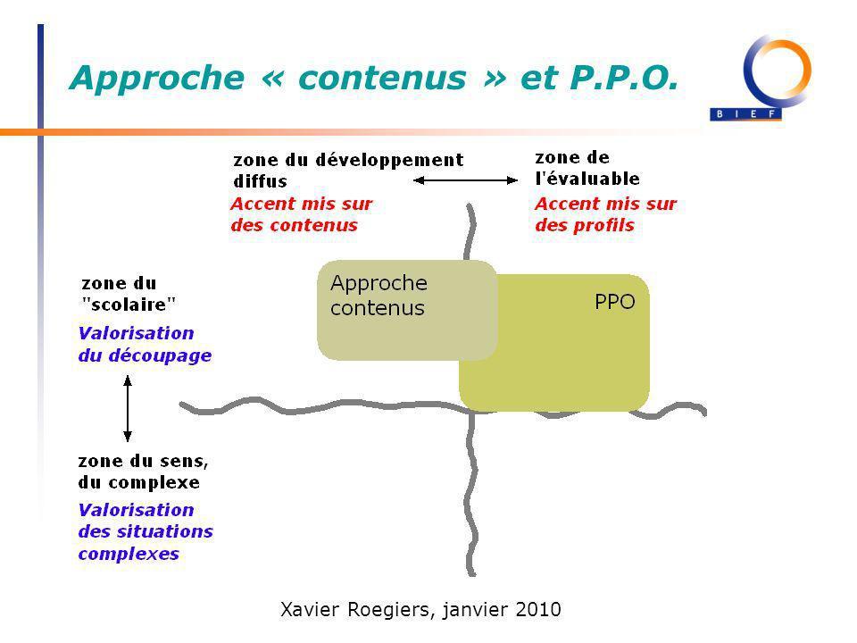 Xavier Roegiers, janvier 2010 Approche « contenus » et P.P.O.