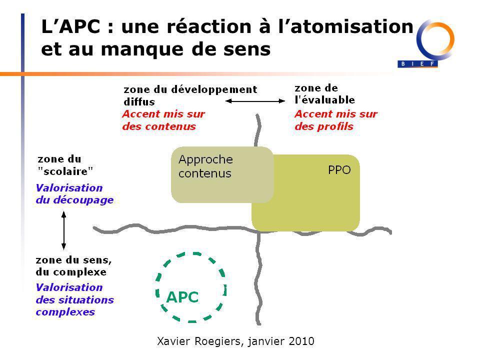 Xavier Roegiers, janvier 2010 LAPC : une réaction à latomisation et au manque de sens