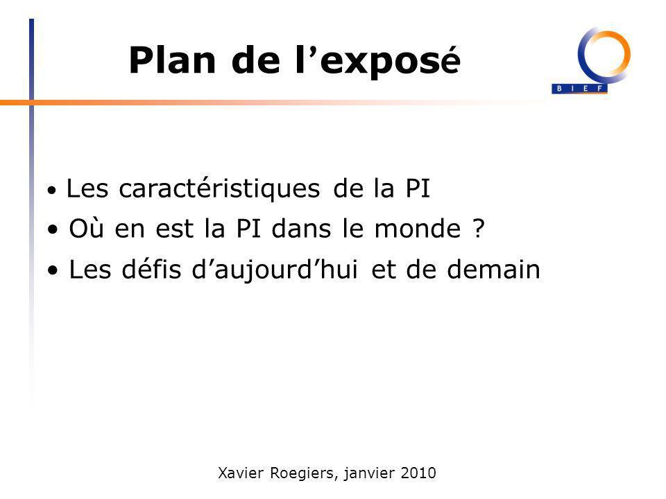 Xavier Roegiers, janvier 2010 Plan de l expos é Les caractéristiques de la PI Où en est la PI dans le monde ? Les défis daujourdhui et de demain