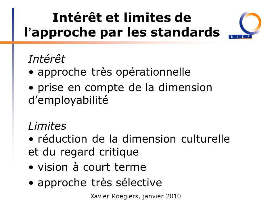 Xavier Roegiers, janvier 2010 Intérêt et limites de l approche par les standards Intérêt approche très opérationnelle prise en compte de la dimension