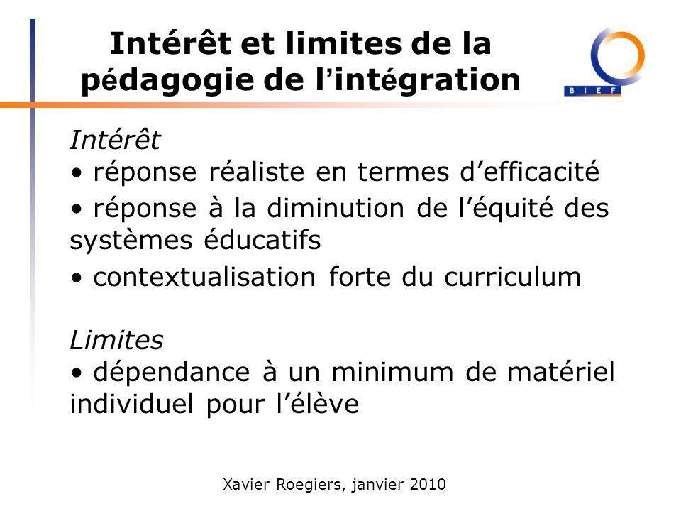 Xavier Roegiers, janvier 2010 Intérêt et limites de la p é dagogie de l int é gration Intérêt réponse réaliste en termes defficacité réponse à la dimi