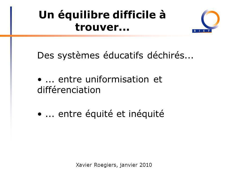 Xavier Roegiers, janvier 2010 Un équilibre difficile à trouver... Des systèmes éducatifs déchirés...... entre uniformisation et différenciation... ent