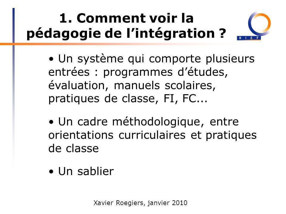 Xavier Roegiers, janvier 2010 1. Comment voir la pédagogie de lintégration ? Un système qui comporte plusieurs entrées : programmes détudes, évaluatio