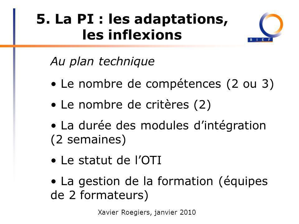 Xavier Roegiers, janvier 2010 5. La PI : les adaptations, les inflexions Au plan technique Le nombre de compétences (2 ou 3) Le nombre de critères (2)