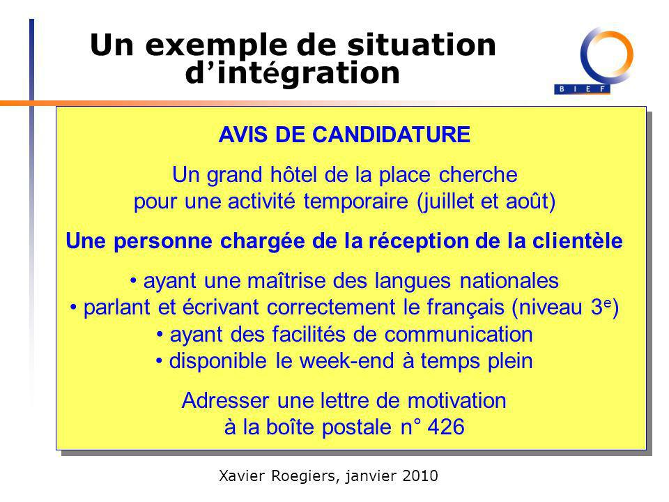 Xavier Roegiers, janvier 2010 Un exemple de situation d int é gration Consigne Quatre personnes ont envoyé leur candidature pour cet avis de candidature (présenter les 4 lettres).