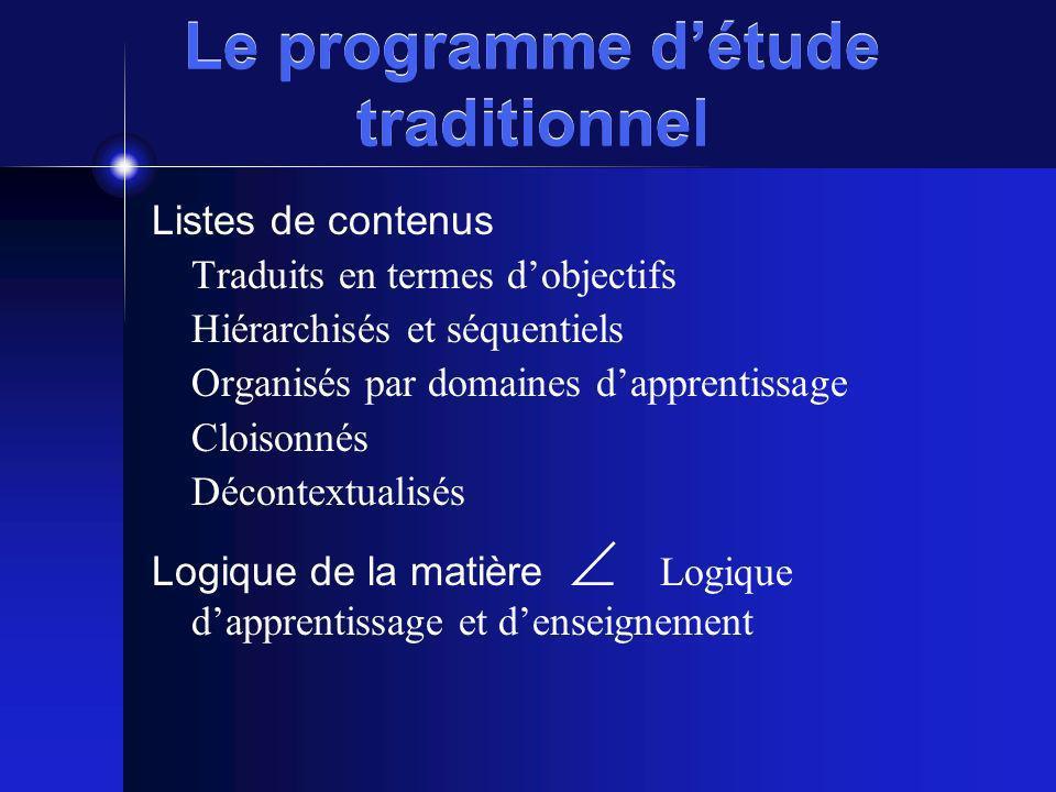 Le programme détude traditionnel Listes de contenus Traduits en termes dobjectifs Hiérarchisés et séquentiels Organisés par domaines dapprentissage Cl