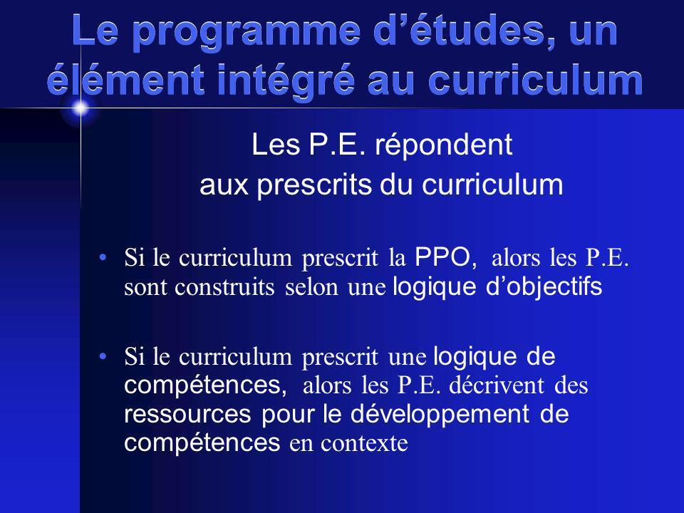 Le programme détudes, un élément intégré au curriculum Les P.E. répondent aux prescrits du curriculum Si le curriculum prescrit la PPO, alors les P.E.