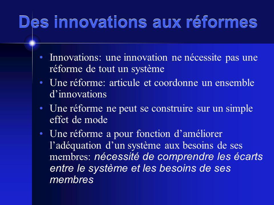 Des innovations aux réformes Innovations: une innovation ne nécessite pas une réforme de tout un système Une réforme: articule et coordonne un ensembl