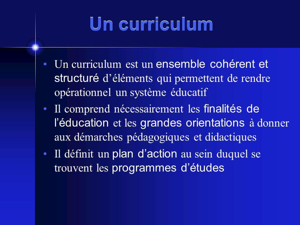 Un curriculum Un curriculum est un ensemble cohérent et structuré déléments qui permettent de rendre opérationnel un système éducatif Il comprend néce