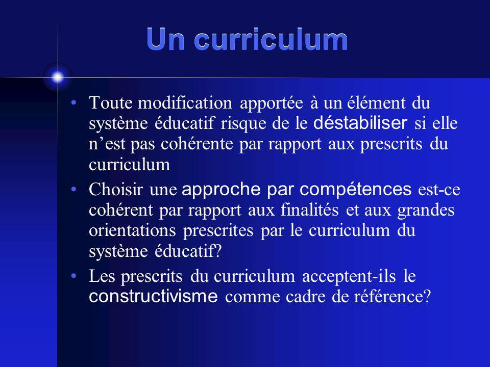 Un curriculum Toute modification apportée à un élément du système éducatif risque de le déstabiliser si elle nest pas cohérente par rapport aux prescr