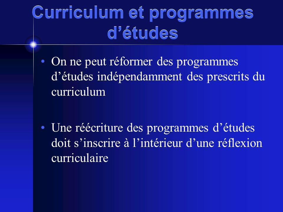 Curriculum et programmes détudes On ne peut réformer des programmes détudes indépendamment des prescrits du curriculum Une réécriture des programmes d