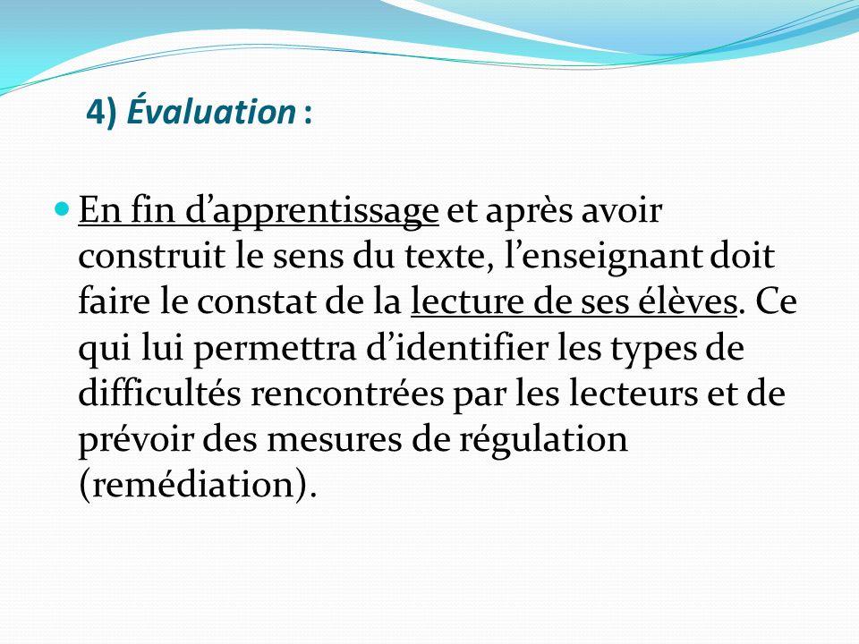 4) Évaluation : En fin dapprentissage et après avoir construit le sens du texte, lenseignant doit faire le constat de la lecture de ses élèves. Ce qui