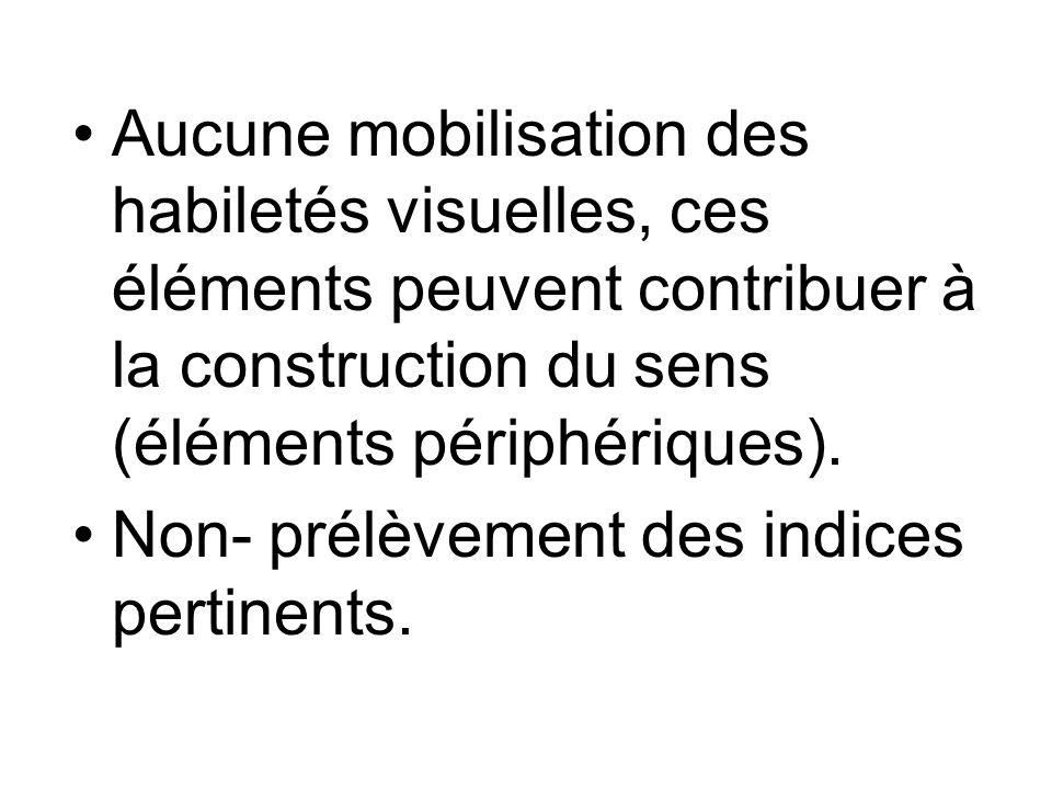 Aucune mobilisation des habiletés visuelles, ces éléments peuvent contribuer à la construction du sens (éléments périphériques).