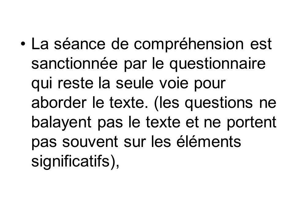 La séance de compréhension est sanctionnée par le questionnaire qui reste la seule voie pour aborder le texte.