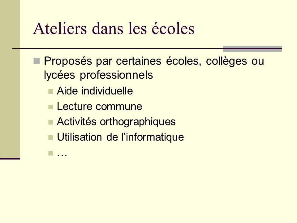 Ateliers dans les écoles Proposés par certaines écoles, collèges ou lycées professionnels Aide individuelle Lecture commune Activités orthographiques