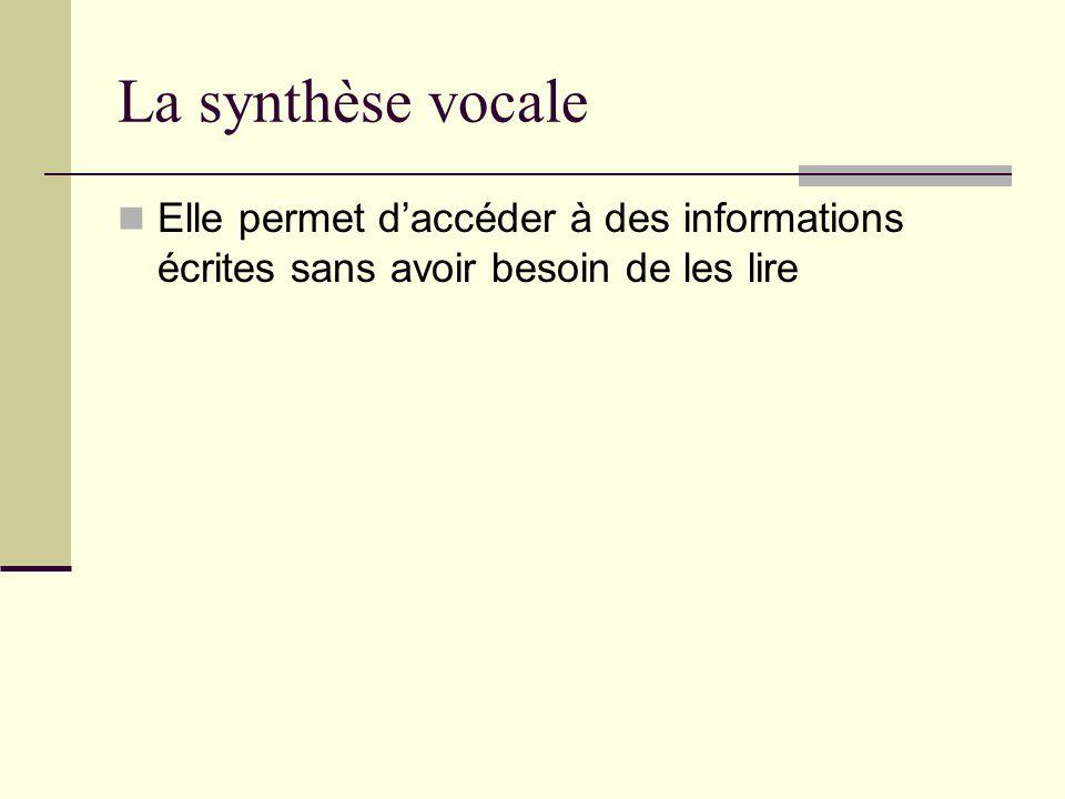 La synthèse vocale Elle permet daccéder à des informations écrites sans avoir besoin de les lire