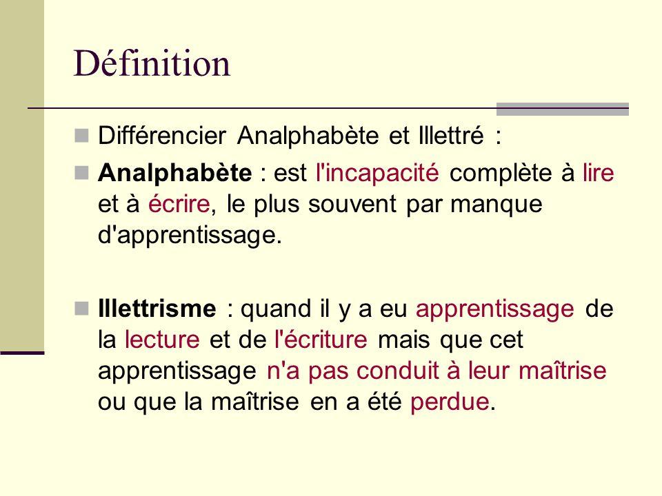 Définition Différencier Analphabète et Illettré : Analphabète : est l'incapacité complète à lire et à écrire, le plus souvent par manque d'apprentissa