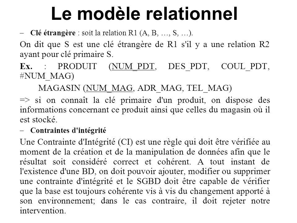 Le modèle relationnel –Clé étrangère : soit la relation R1 (A, B, …, S, …). On dit que S est une clé étrangère de R1 s'il y a une relation R2 ayant po