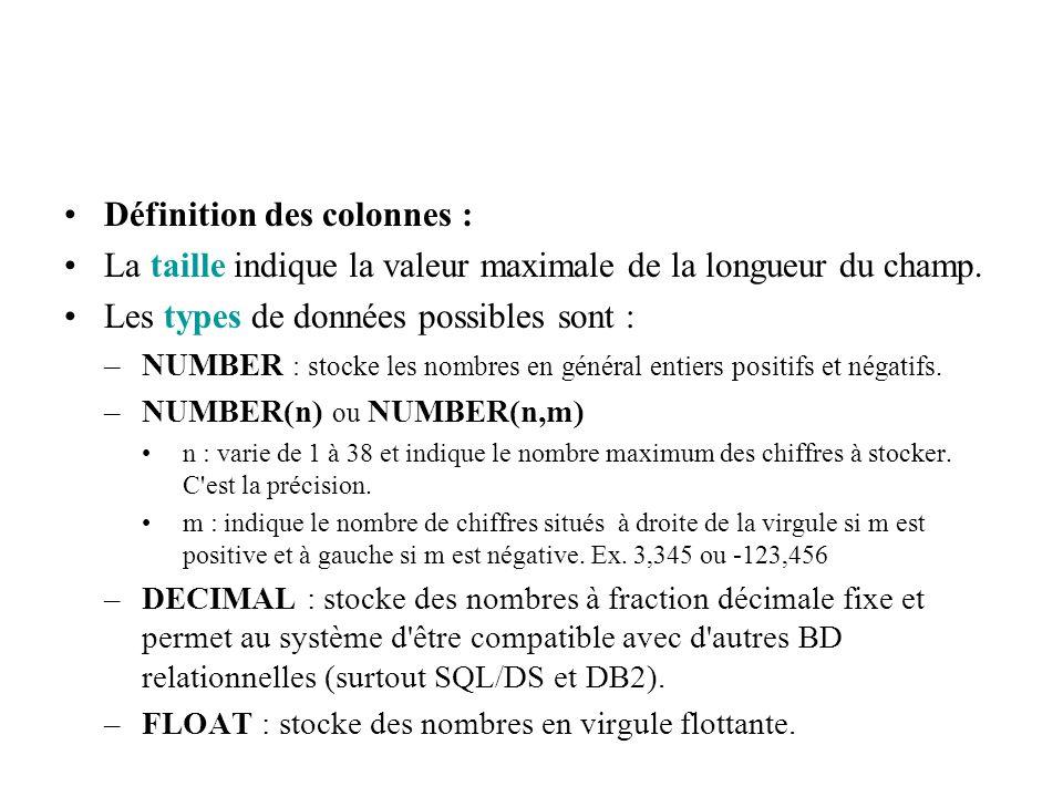 Définition des colonnes : La taille indique la valeur maximale de la longueur du champ. Les types de données possibles sont : –NUMBER : stocke les nom