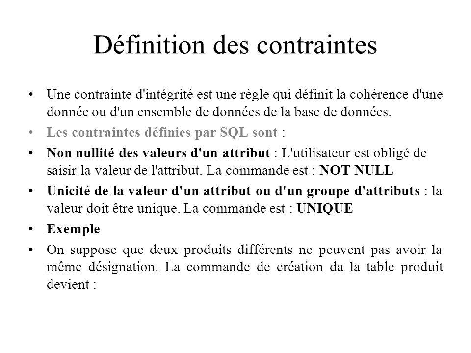 Définition des contraintes Une contrainte d'intégrité est une règle qui définit la cohérence d'une donnée ou d'un ensemble de données de la base de do