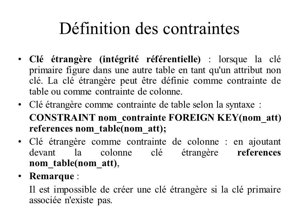 Définition des contraintes Clé étrangère (intégrité référentielle) : lorsque la clé primaire figure dans une autre table en tant qu'un attribut non cl