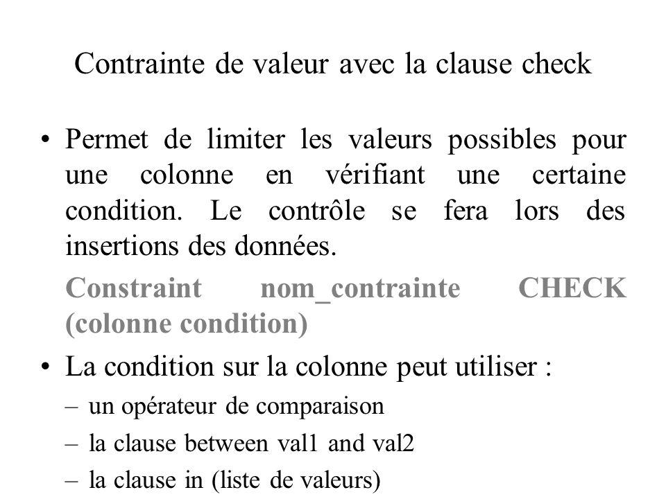 Contrainte de valeur avec la clause check Permet de limiter les valeurs possibles pour une colonne en vérifiant une certaine condition. Le contrôle se