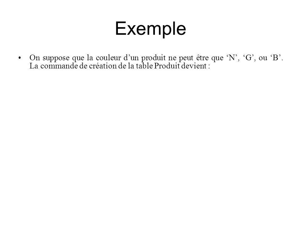 Exemple On suppose que la couleur dun produit ne peut être que N, G, ou B. La commande de création de la table Produit devient : CREATE TABLE Produit