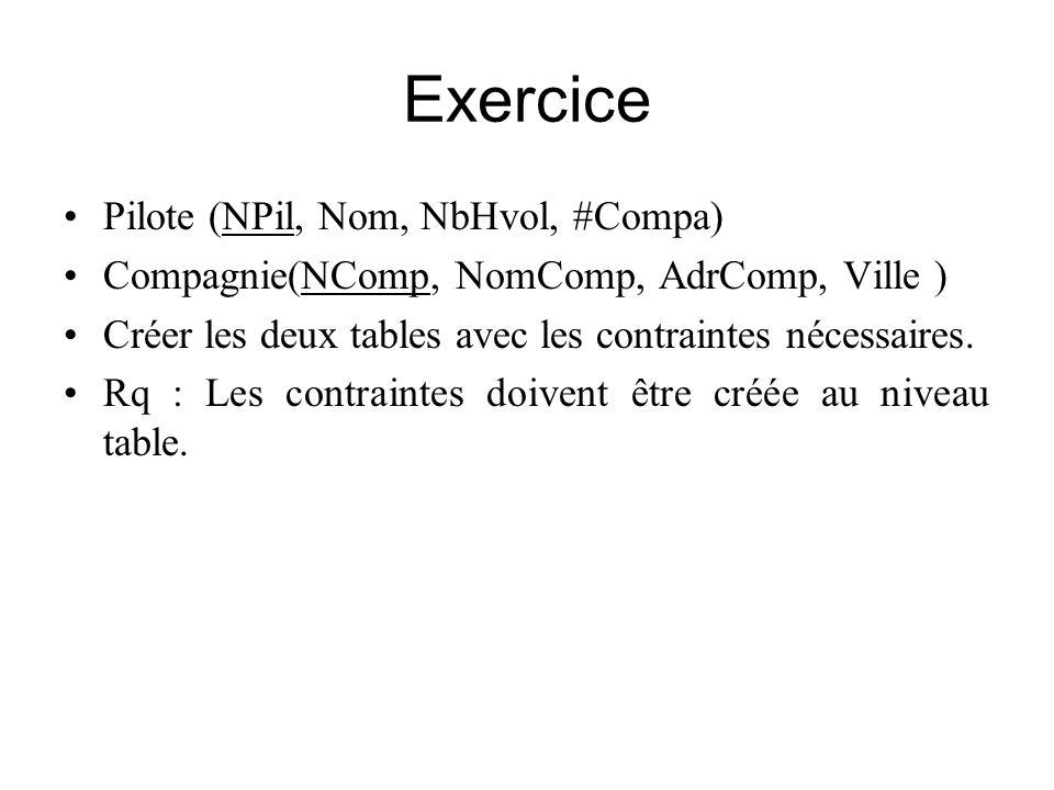 Exercice Pilote (NPil, Nom, NbHvol, #Compa) Compagnie(NComp, NomComp, AdrComp, Ville ) Créer les deux tables avec les contraintes nécessaires. Rq : Le