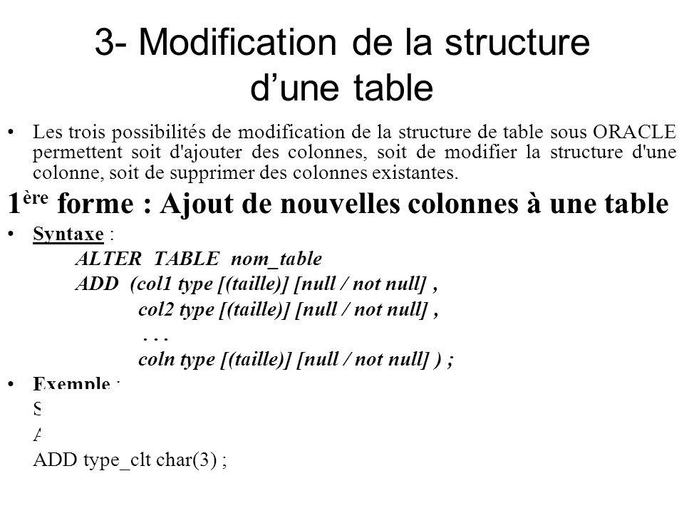 3- Modification de la structure dune table Les trois possibilités de modification de la structure de table sous ORACLE permettent soit d'ajouter des c