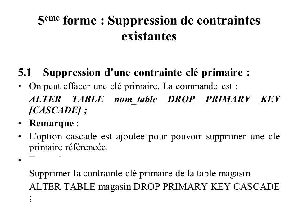 5 ème forme : Suppression de contraintes existantes 5.1 Suppression d'une contrainte clé primaire : On peut effacer une clé primaire. La commande est