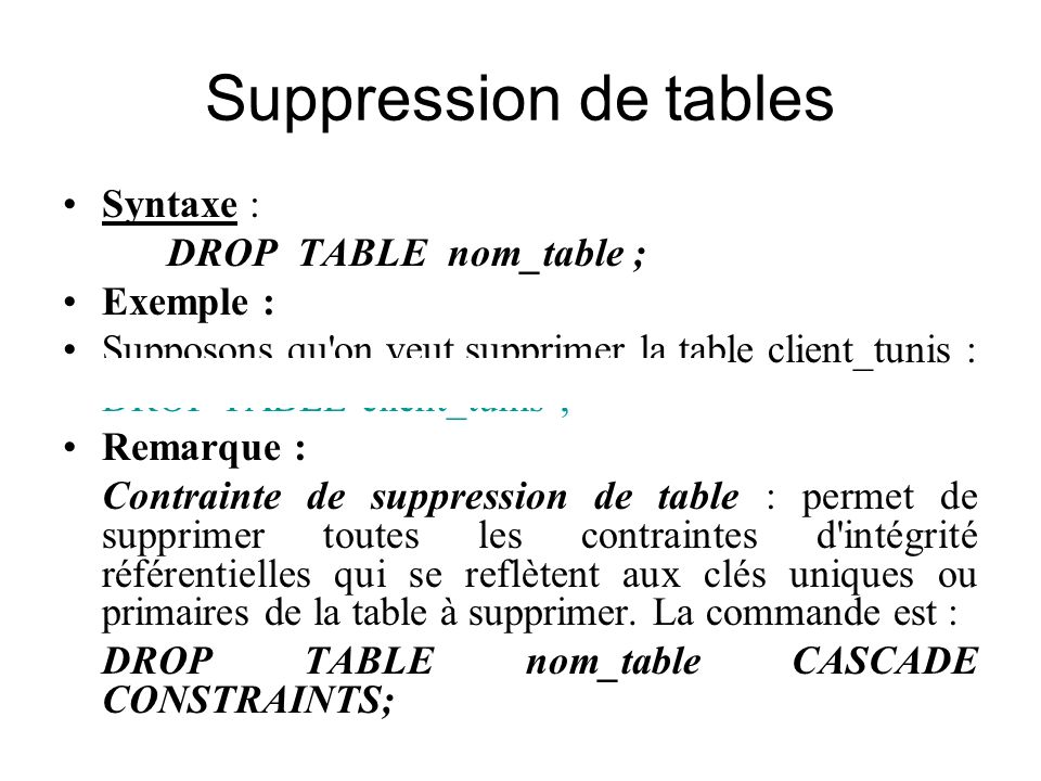 Suppression de tables Syntaxe : DROP TABLE nom_table ; Exemple : Supposons qu'on veut supprimer la table client_tunis : DROP TABLE client_tunis ; Rema