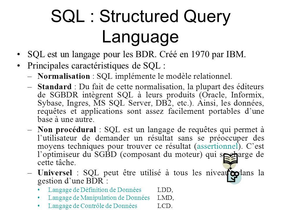 SQL : Structured Query Language SQL est un langage pour les BDR. Créé en 1970 par IBM. Principales caractéristiques de SQL : –Normalisation : SQL impl