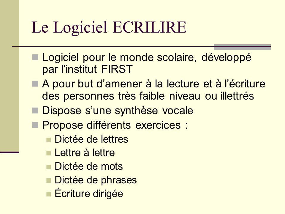 Le Logiciel ECRILIRE Permet aussi de : Créer ses propres exercices Mémoriser son parcours Faire une fiche de résultats First veut développer « lire.net » : adaptation internet du logiciel Ecrilire