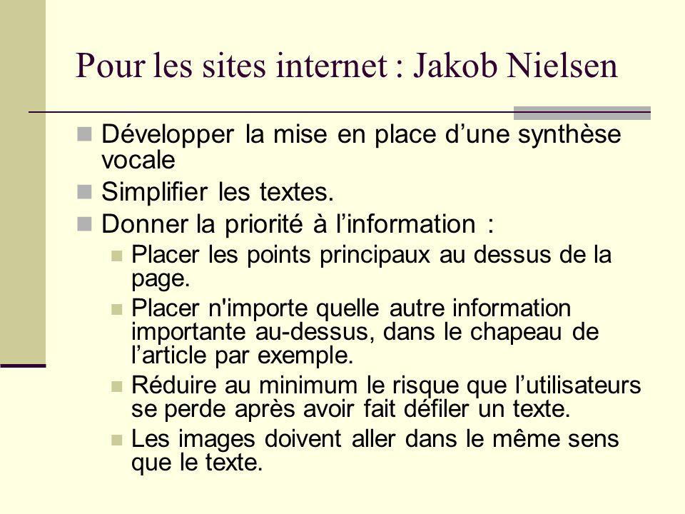 Pour les sites internet : Jakob Nielsen Éviter le texte qui se déplace ou des changements (pop up).