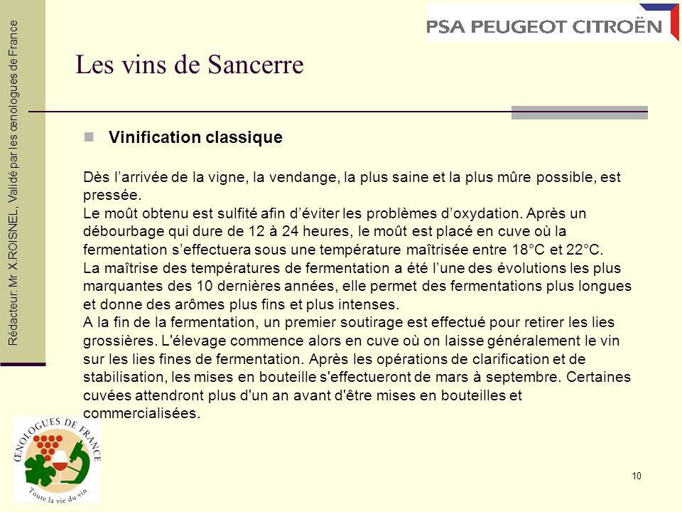 10 Les vins de Sancerre Vinification classique Dès larrivée de la vigne, la vendange, la plus saine et la plus mûre possible, est pressée. Le moût obt