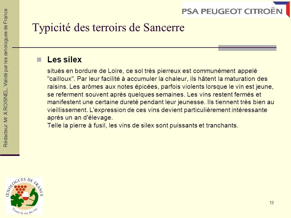 13 Typicité des terroirs de Sancerre Les silex situés en bordure de Loire, ce sol très pierreux est communément appelé