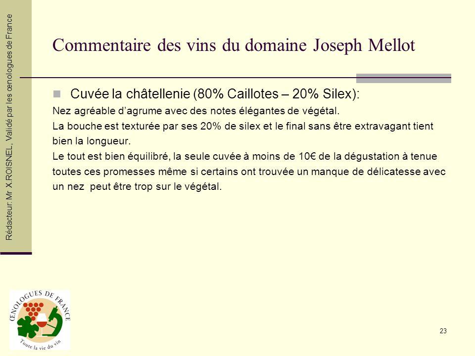 23 Commentaire des vins du domaine Joseph Mellot Cuvée la châtellenie (80% Caillotes – 20% Silex): Nez agréable dagrume avec des notes élégantes de vé