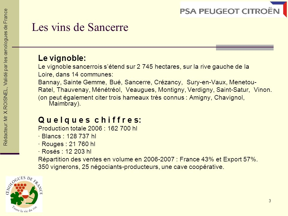 3 Les vins de Sancerre Le vignoble: Le vignoble sancerrois sétend sur 2 745 hectares, sur la rive gauche de la Loire, dans 14 communes: Bannay, Sainte