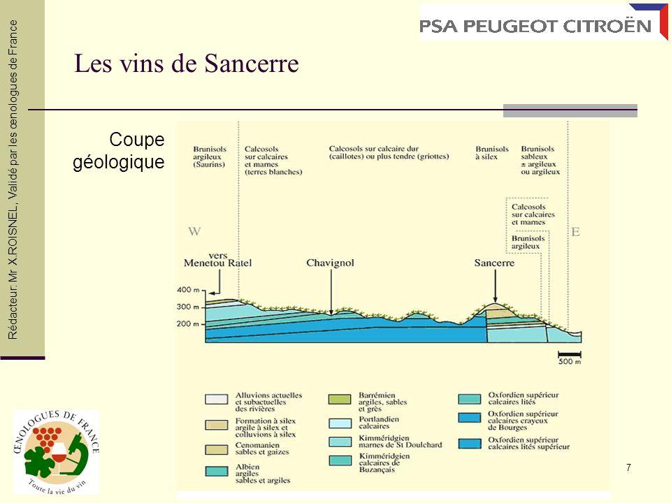 7 Les vins de Sancerre Coupe géologique Rédacteur: Mr X.ROISNEL, Validé par les œnologues de France