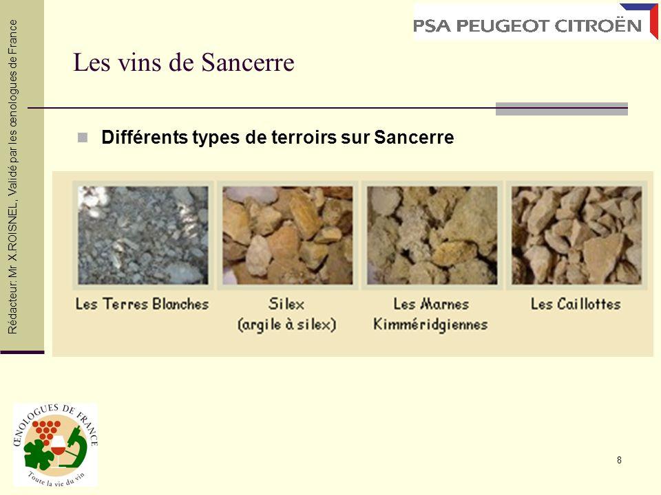 8 Les vins de Sancerre Différents types de terroirs sur Sancerre Rédacteur: Mr X.ROISNEL, Validé par les œnologues de France
