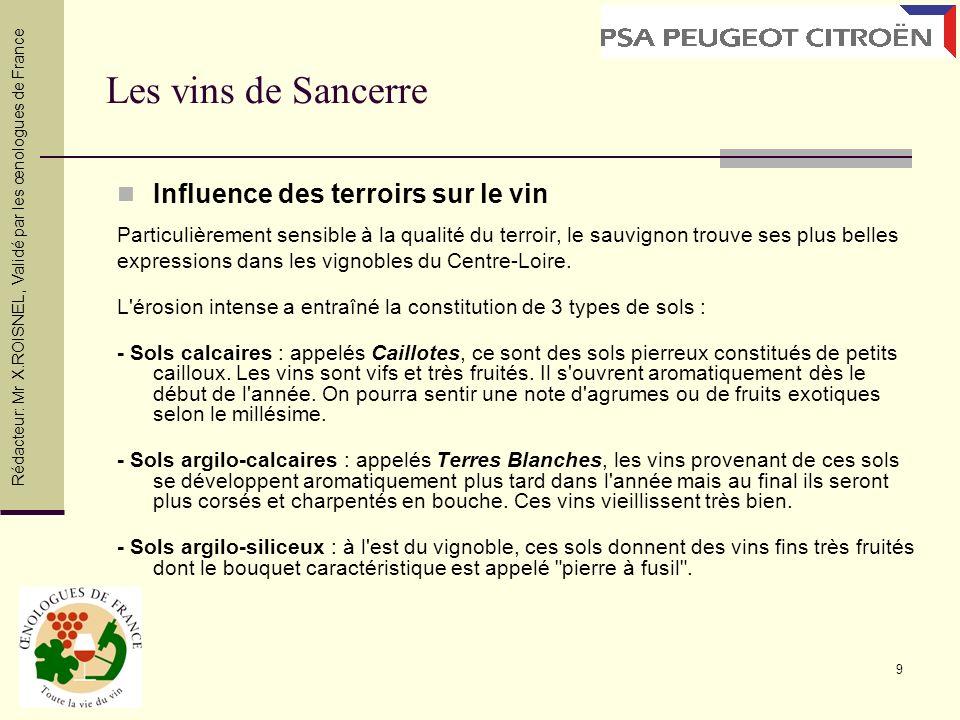 9 Les vins de Sancerre Influence des terroirs sur le vin Particulièrement sensible à la qualité du terroir, le sauvignon trouve ses plus belles expres