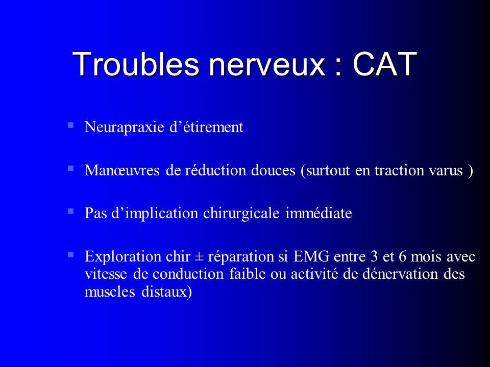 Troubles nerveux : CAT Neurapraxie détirement Manœuvres de réduction douces (surtout en traction varus ) Pas dimplication chirurgicale immédiate Explo