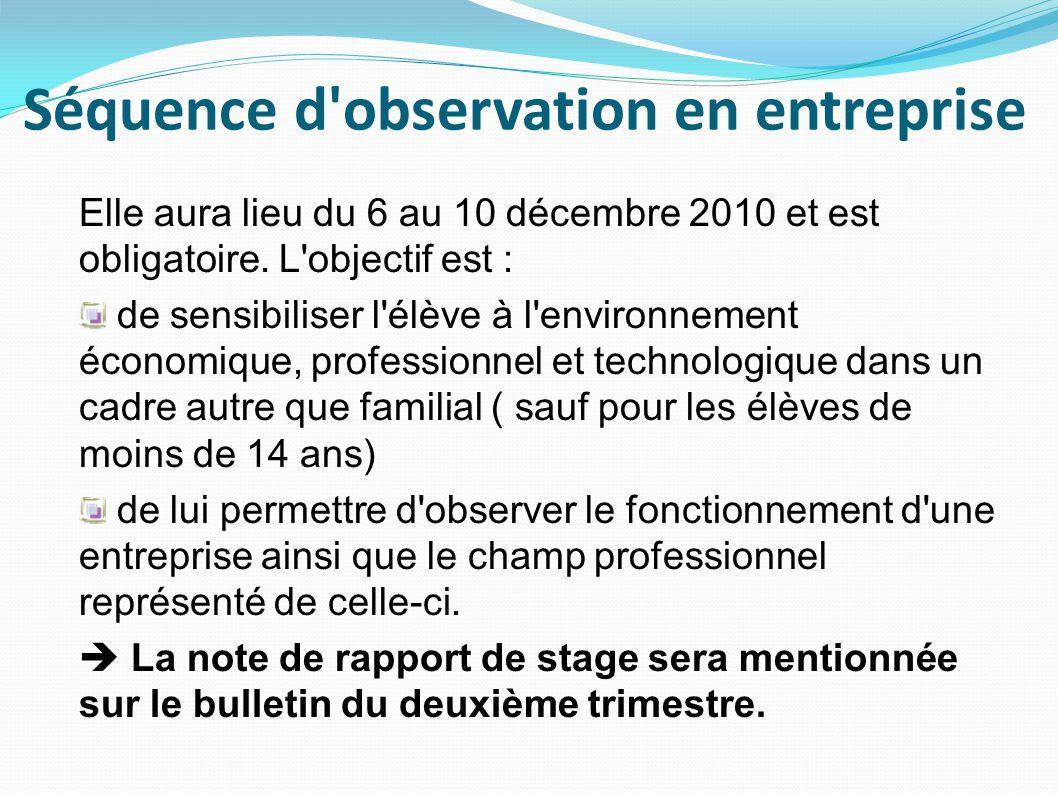 Séquence d'observation en entreprise Elle aura lieu du 6 au 10 décembre 2010 et est obligatoire. L'objectif est : de sensibiliser l'élève à l'environn