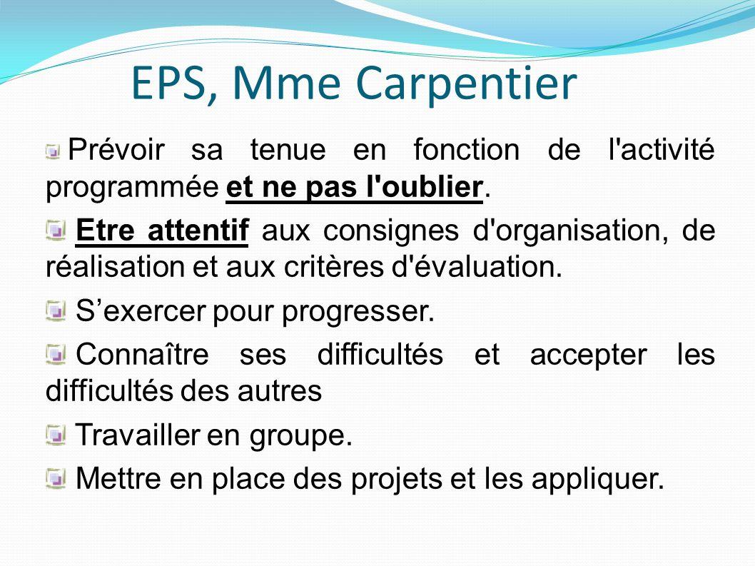 EPS, Mme Carpentier Prévoir sa tenue en fonction de l'activité programmée et ne pas l'oublier. Etre attentif aux consignes d'organisation, de réalisat
